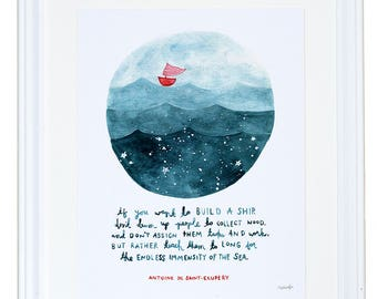 The Little Prince, Sailboat Paintings, Antoine de St.-Exupery Quote, Boat Decor, Watercolor Art Print, Mermaid Decor, Meera Lee Patel