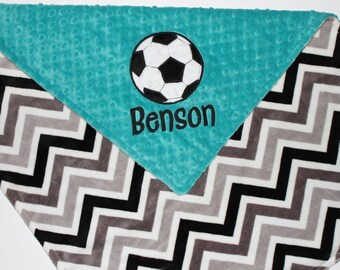 Personalized SOCCER Sports DOUBLE MINKY Soccer Ball Applique Blanket or Lovey with Name Teal, Black, White