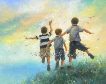 Three Brothers Art Print boys room wall art, three boys paintings, three brothers leaping jumping running happy boys, Vickie Wade art
