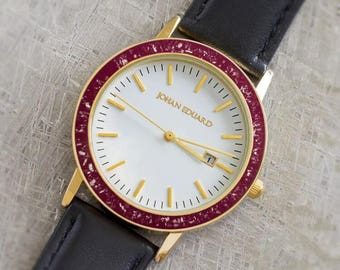 Maroon Stardust Watch For Men or Women With Gold Colored Stainless Steel, Customizable Black Leather Watch, Johan Eduard Watch