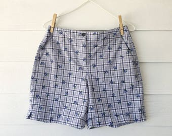 Blue plaid picnic shorts
