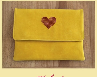 Yellow leather clutch purse, embroidery purse,embroidery clutch,yellow leather bag,yellow leather purse,valentines day,valentines gift