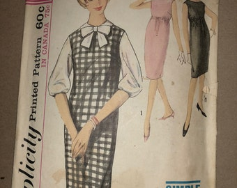 """60s Vintage Simplicity 5269 Printed Sewing Pattern - Teens'/Juniors' One-Piece Dress or Jumper & Blouse, Size 12, Bust 32"""" - Simple-to-Sew"""