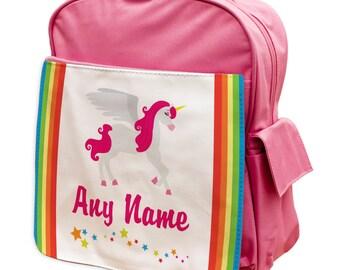 Personalised Pink Unicorns Rucksack Backpack 1- back to school - school - gym bag - pink - blue -