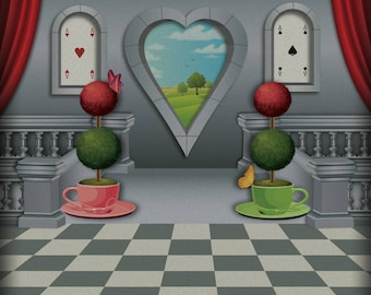 Alice in wonderland style event backdrop