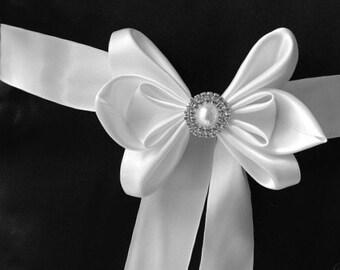 White wedding sash belt