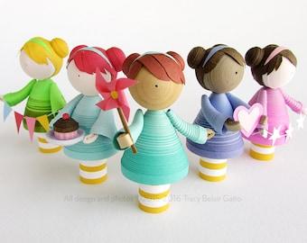 Girl Figurine, Handmade gift for her, custom quilled paper miniature art doll, cupcake topper, cute nursery gift, home decor, custom gift