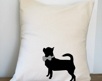 Chihuahua with Bow Pillow Cover Natural Color Canvas with Black Dog Shape 18x18 Inch Cover Made to Order