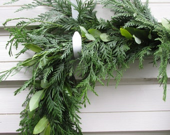 Cedar Bay Leaf  Garland 8' Fresh Made to Order  Christmas, Holiday, Green Decoration, Evergreens, Woodland