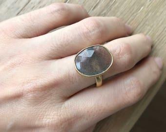 Large Labradorite Statement Bohemian Ring