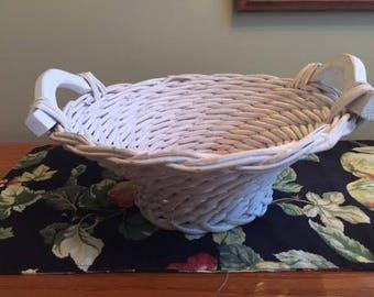 Whitewashed Grapevine Woven Basket w Wood Handles