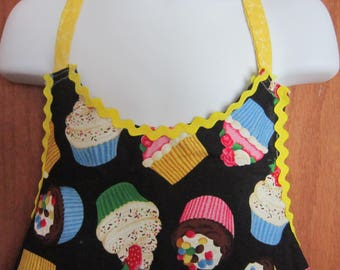 Childs Full Apron Black with large frosted cupcakes Yellow Rick rack