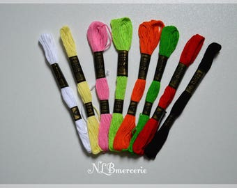 Embroidery FLOSS stranded skein set of 8 colors