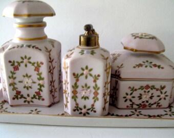 N'Orleans Pink Floral Porcelain Dresser Set / Made In Japan / Estate Find / Shabby Chic Decor / Vintage Pink Dresser Set /