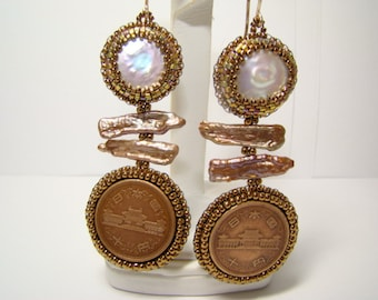 Coin Pearl Biwa Pearl Japanese Coin Bead Embroidered Earrings Statement Piece!