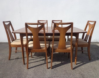 8pc Mid Century Modern Kent Coffey Perspecta Dining Table Chairs Set Danish Eames Chair Vintage Mad Men Retro Kitchen Seating Wood Furniture