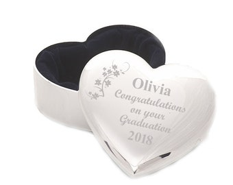 Graduation Personalised Engraved Heart Trinket Jewellery Box.