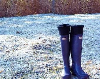 Boot Cuffs SLUGS Fleece Rain Boot Black Liners Fashion Accessories,Tall Boot Socks, Fleece Socks, Rain Boot Insert (Med/Lg 9-11 Boot)