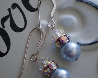 Powder Blue Swarovski Pearl Earrings