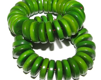 25 Forest Green Tagua Nut Beads, 13mm Rondelle Beads, FD, EcoBeads, Natural Beads, Organic Beads, Vegetable Ivory Beads