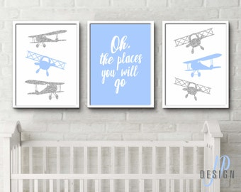 Travel Theme aeroplane nursery bi planes baby blue grey white Oh the places you'll go print - custom colours and sizes