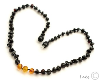 Baltic Amber Baby Teething Necklace Cherry Color Beads