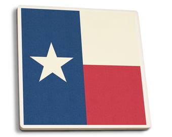 TX Flag - Letterpress - LP Artwork (Set of 4 Ceramic Coasters)