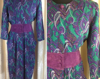 Great Vintage 1980's Paisley Print and Suede Dress ... UK Size 10  Label: Karin Stevens  Original Eighties 80's