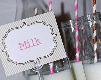 Milk & Cookies Buffet Cards - Instant Download