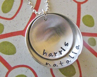 custom double layer nesting names necklace