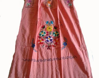 Medium - Peach (Regular Length/Below Knee) Mexican Dress #R100