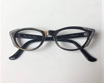 Vintage Mid Century French Rhinestones Pointy Cat Eyeglasses, 50s 60s Brown Metallic Cateye Glasses Frames, Rockabilly Pin Up Frames
