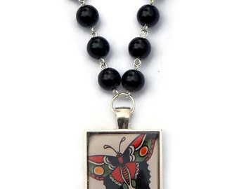 Butterfly Tattoo Necklace with black pearls - Rockabilly, Pin Up, Retro, Old School
