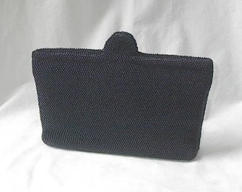Vintage Clutch Purse in Blue Glass Seed Beads 1930s  40s