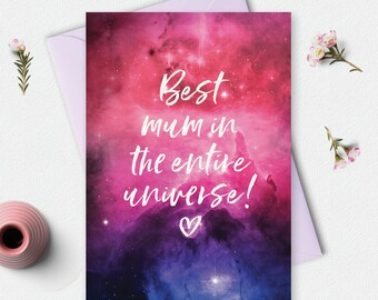 Mothers day card, Best mum in the universe, Printable Card, mums card, greeting card, mothers day gift, digital download, instant download