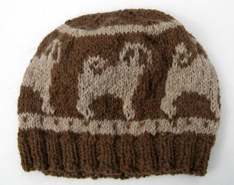 Fair Isle Knit Hat with Pugs