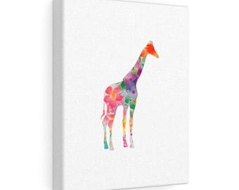 Floral Giraffe Canvas Gallery Wraps