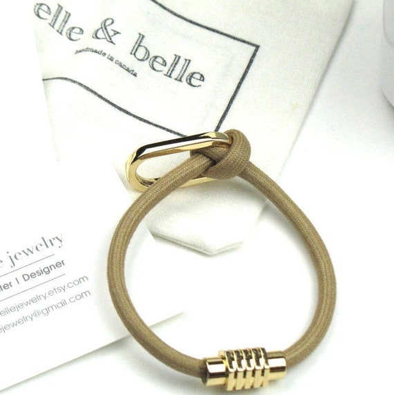 Knot Bracelet in Beige Mokuba Cord with Gold Oval Accent Ring and Gold Magnetic Clasp / Fiber Jewelry / Gift for Her