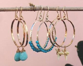 shark teeth hoop earrings