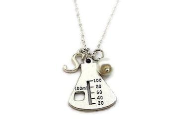 Beaker Necklace Flask Necklace Chemistry Necklace Birthstone Necklace Glass Pearl Necklace Initial Necklace Beaker Jewelry Science Jewelry