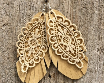 Leather Feather and Lace Earrings by Stacy Leigh in Buttermilk Beige Leather and Antique Lace on Silver Hooks