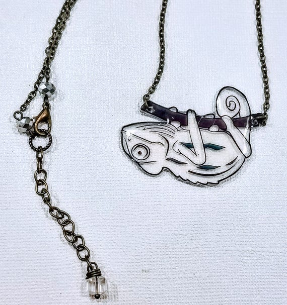 Chameleon Necklace. Whimsical statement necklace.