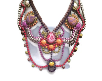 PUCCI NOT GUCCI spring summer color palette 2015 hand painted rhinestone super statement necklace