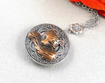 Sleeping Fox, Silver Fox Locket, Fox, Fox Necklace, Fox Locket, Woodland, Woodland Locket, Silver locket