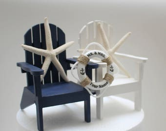 Navy Wedding Cake Topper, Nautical Chair Cake Toppers, Life Ring, Personalized, Beach Cake Toppers
