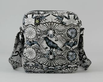 READY TO SHIP Gothic Black and White Small Crossbody Bag with Pockets, Ravens, Scorpions, Spider Webs, Zipper Closure, Halloween Fabric