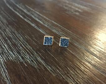 Black Square Druzy Stud Earrings - Druzy earrings - 7mm Black Earrings - Gold square studs - druzy stud earrings - druzy studs - Black Studs