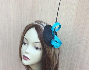 Fascinator, Straw Fascinator,  Turquoise Fascinator, Cocktail Hat, Fascinator, Hat, Turquoise Headpiece