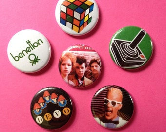 Love the 80s pinback buttons set of 6