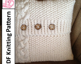 """PDF KNITTING PATTERN - Braided Cable 20"""" x 20"""" chunky knit pillow cover"""